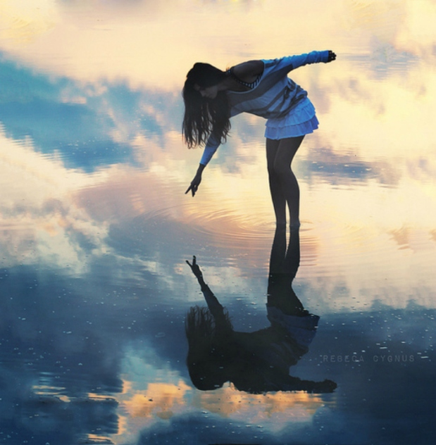 woman-reflection-water